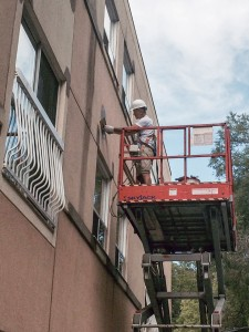 exterior stucco repairs being completed